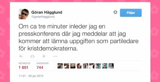 Göran Hägglund meddelar att han avgår via Twitter
