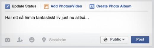 facebook statusuppdatering