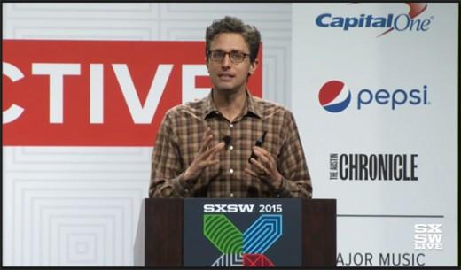 Jonah Peretti, grundare av Buzzfeed och Huffington Post. Bild: Från livestream på sxsw.com.