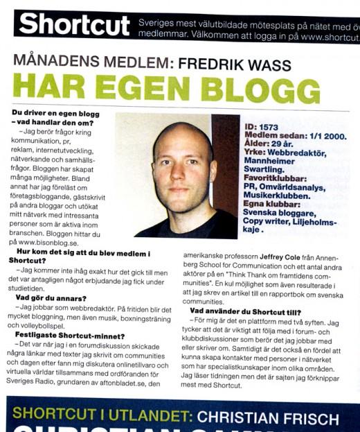 Intervju i tidningen Shortcut om mitt bloggande 2005.