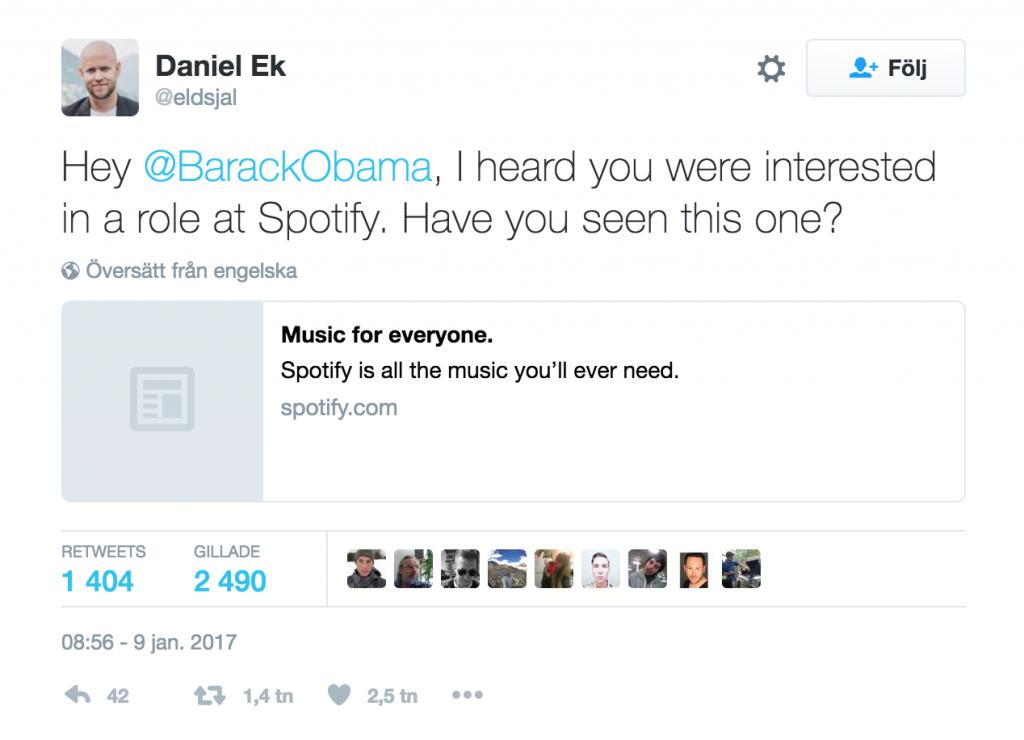 Spotify President Obama
