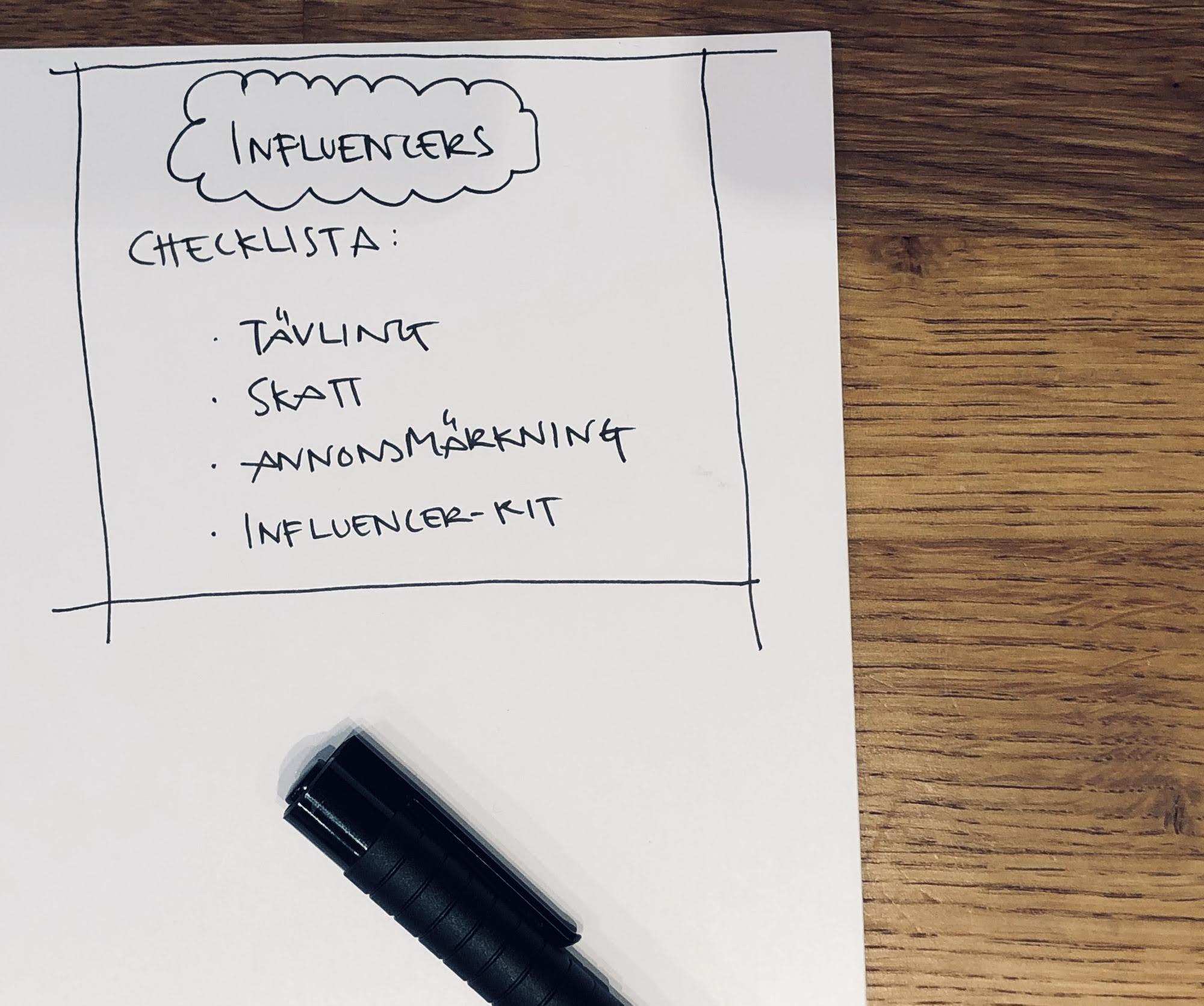 Checklista för att arbeta med Influencers.