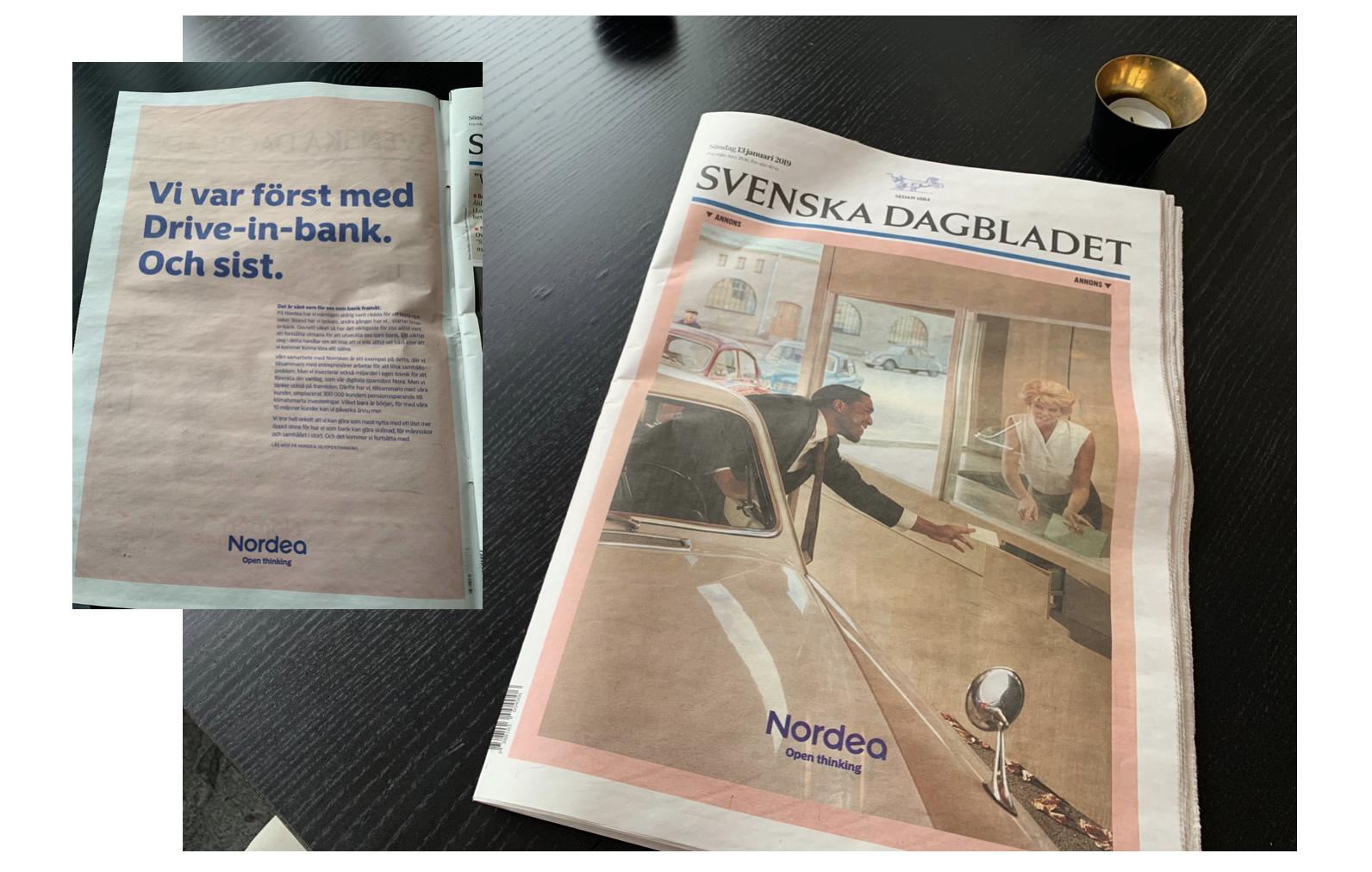 Nordea i Svenska Dagbladet söndagen 13 feb 2019