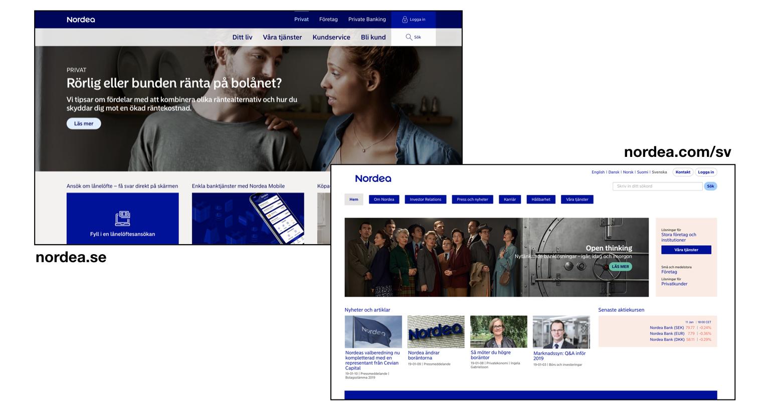 Nordea.se och nordea.com visar brist på inkludering