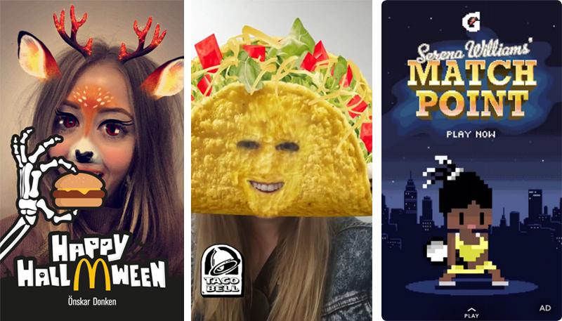 Geofilter Donken (McDonald's Sverige), Lens (Taco Bell) och Snap Ad (Gatorade).