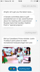I Quartz app får jag först ett nyhetsflöde i konversationsform...